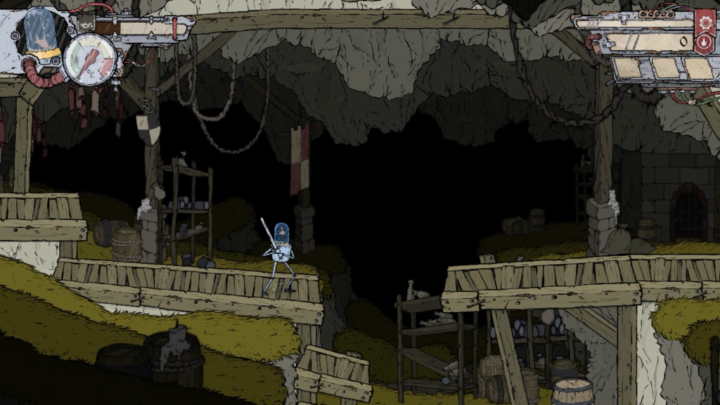 Attu begins his journey through the caves in Feudal Alloy.