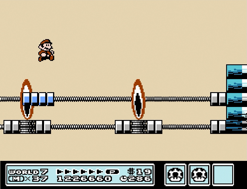 Mario leaps over fire-spewing cannons and bottomless pits on Ludwig von Koopa's Airship.