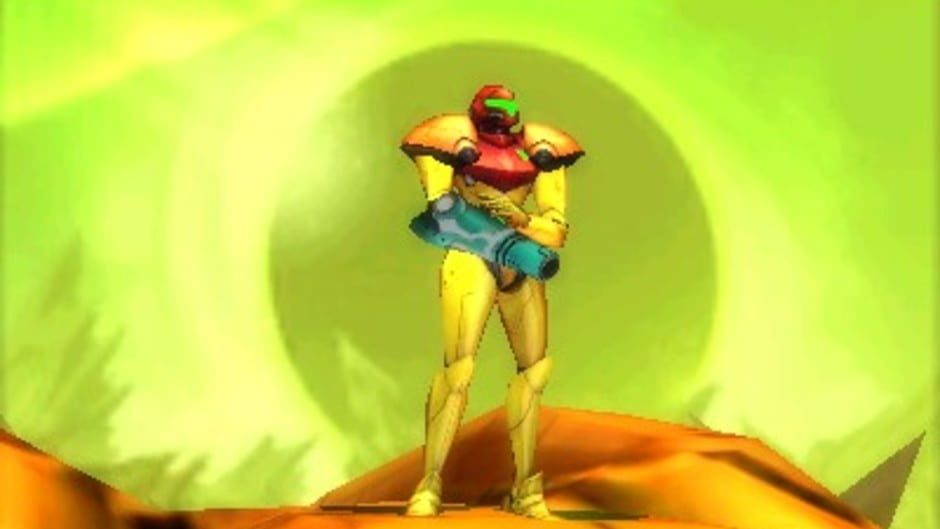 Samus begins her journey with a basic Power Suit and arm cannon.