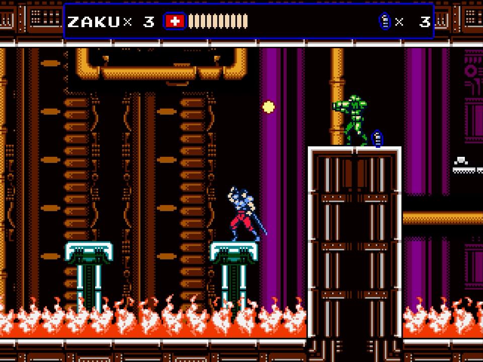 Zaku platforms over flames while avoiding Oniken gunfire.