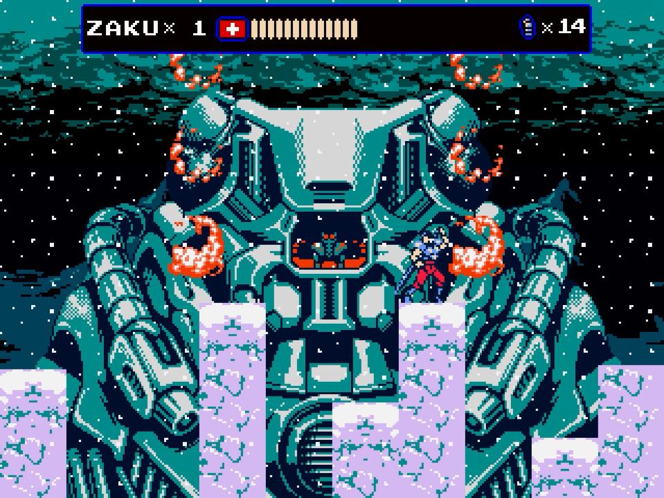 Zaku fights an Oniken mech on a mountain peak.