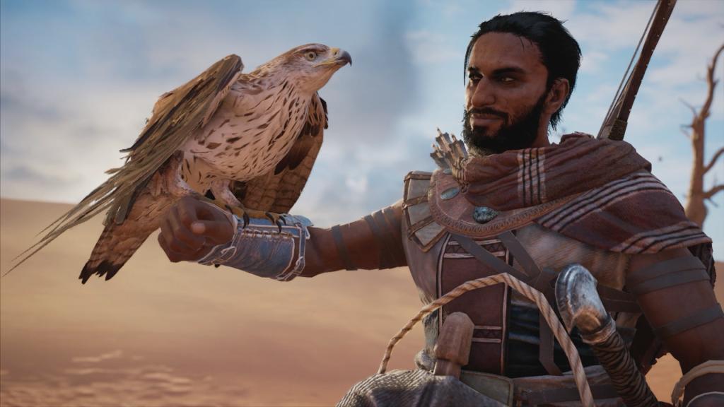 Bayek with his eagle companion, Senu.