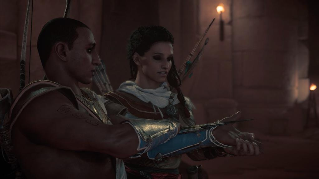 Bayek and Aya learn to use the Hidden Blade.