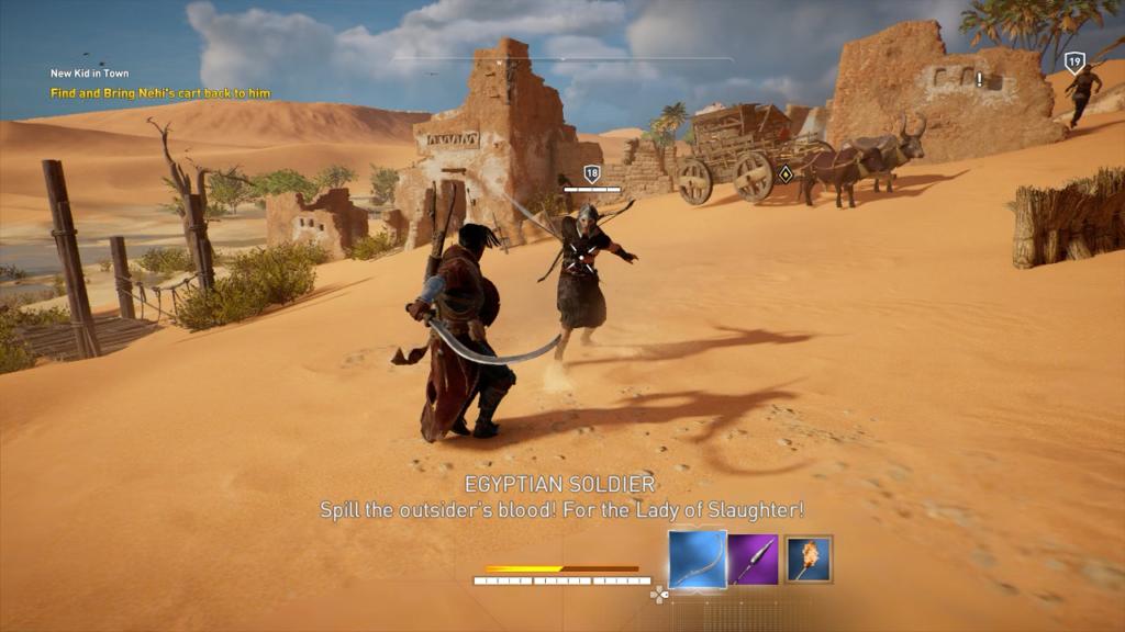 Bayek battles an Egyptian Soldier.