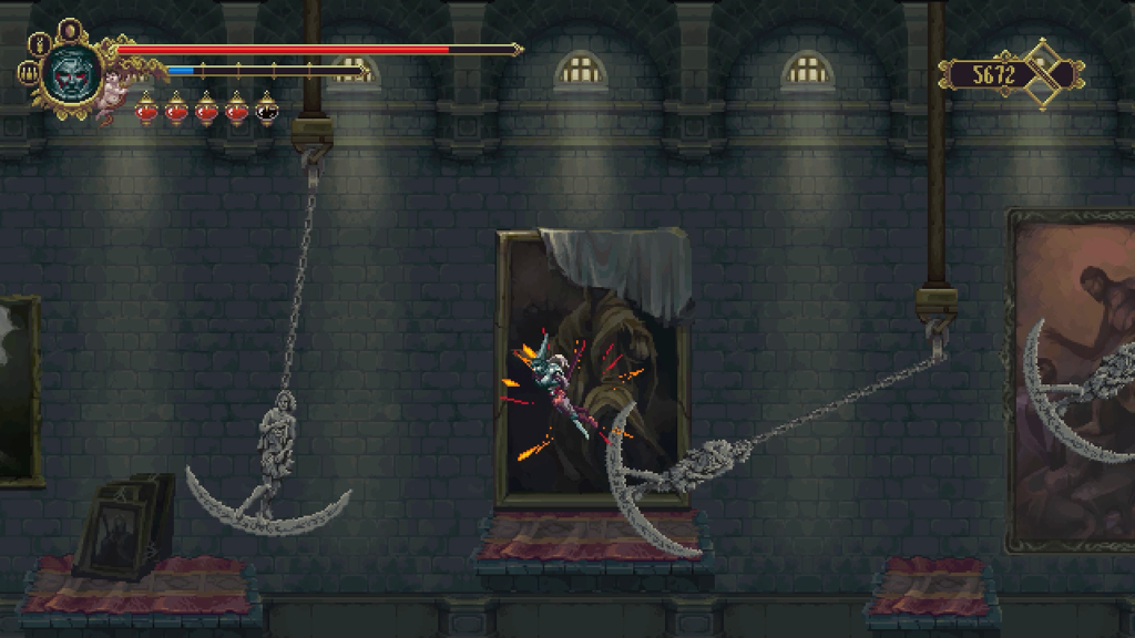 Imprecise platforming makes a pendulum-filled hallway more deadly than anything else in Blasphemous.
